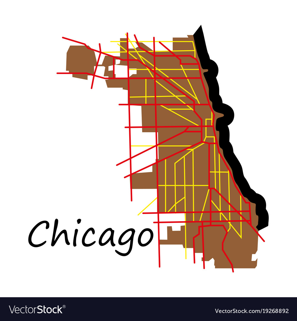 Flat map chicago city illinois roads Royalty Free Vector