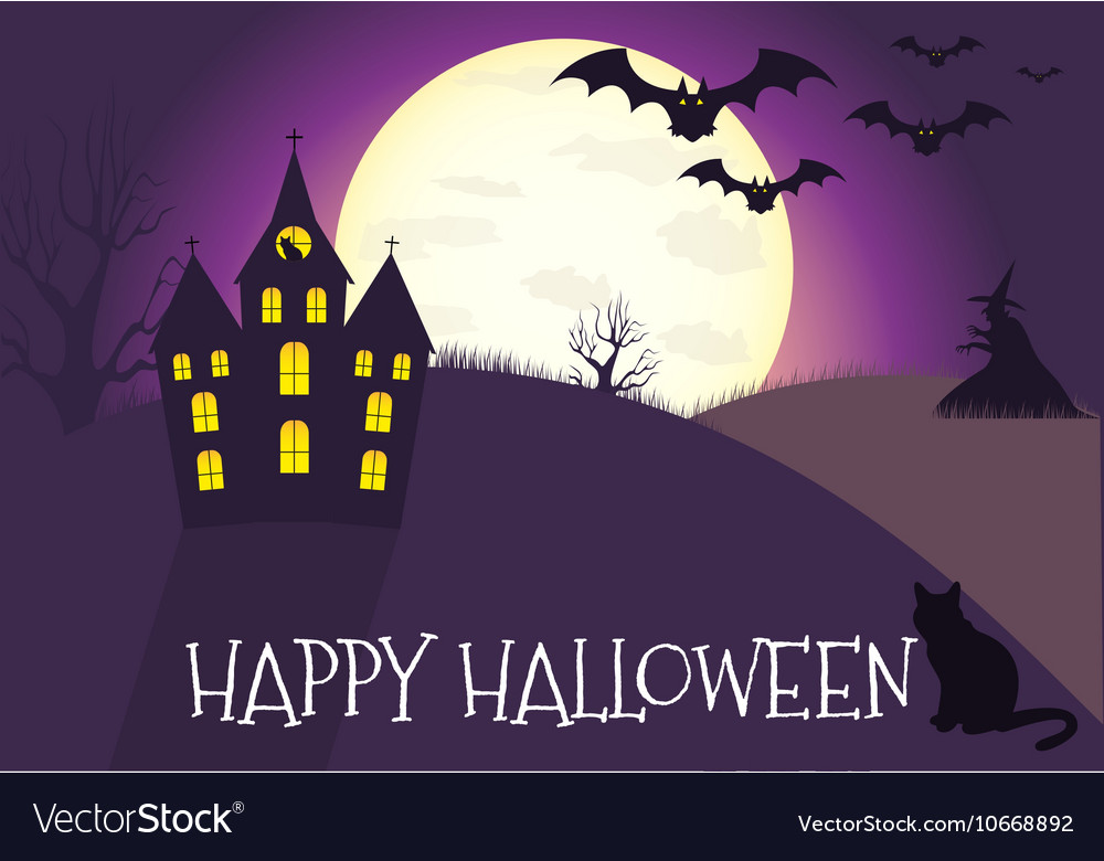 Happy halloween house scary on blue background
