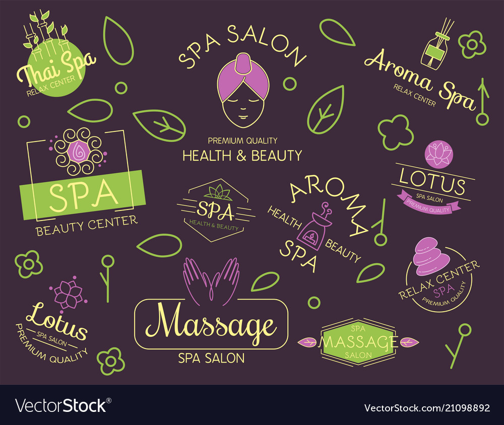 Health and beauty care spa badge hand drawn