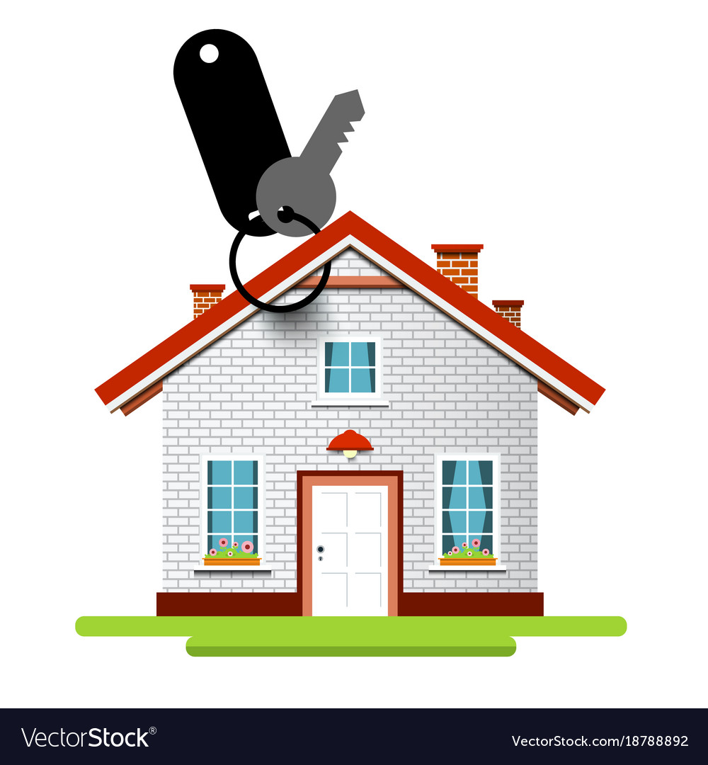 House icon with key and key holder vector image