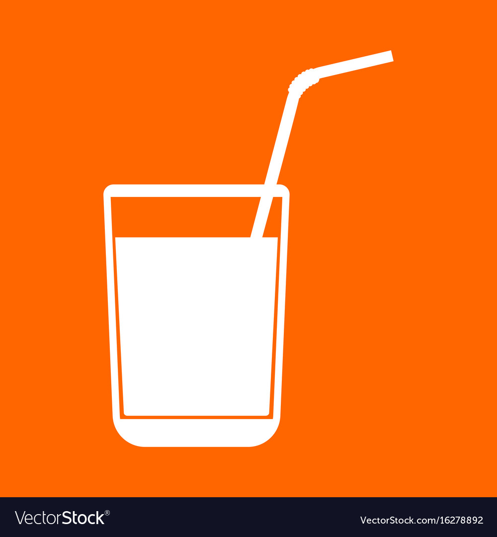 Juice glass with drinking straw white icon
