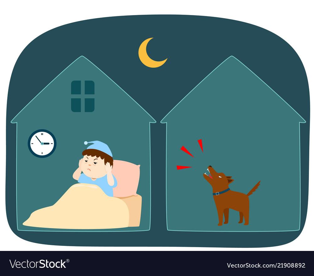 Neighbor dog barking loudly at night cartoon