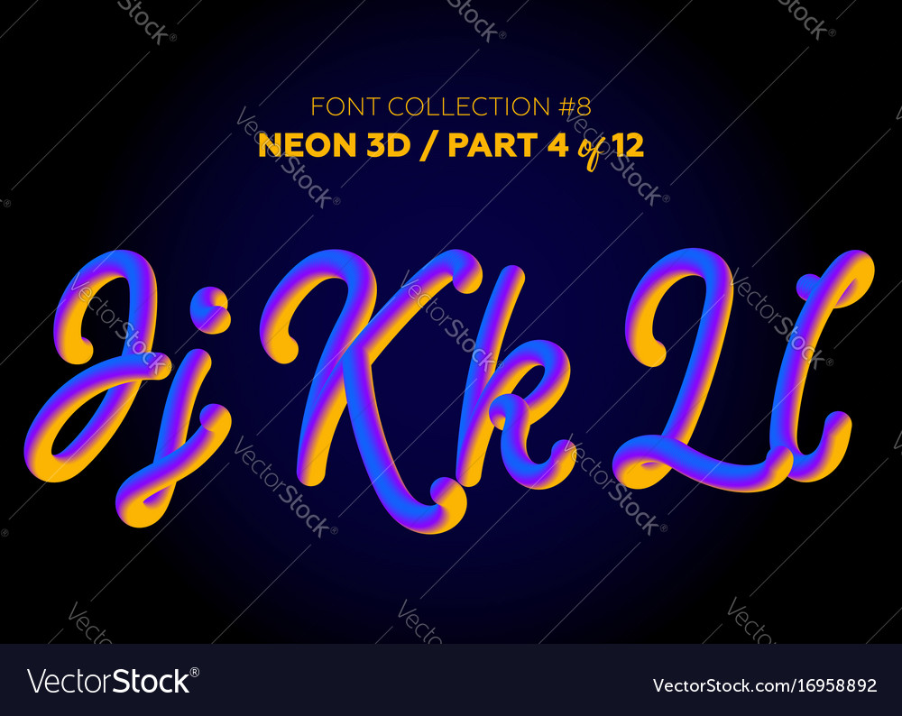 Neon 3d typeset with rounded shapes font set