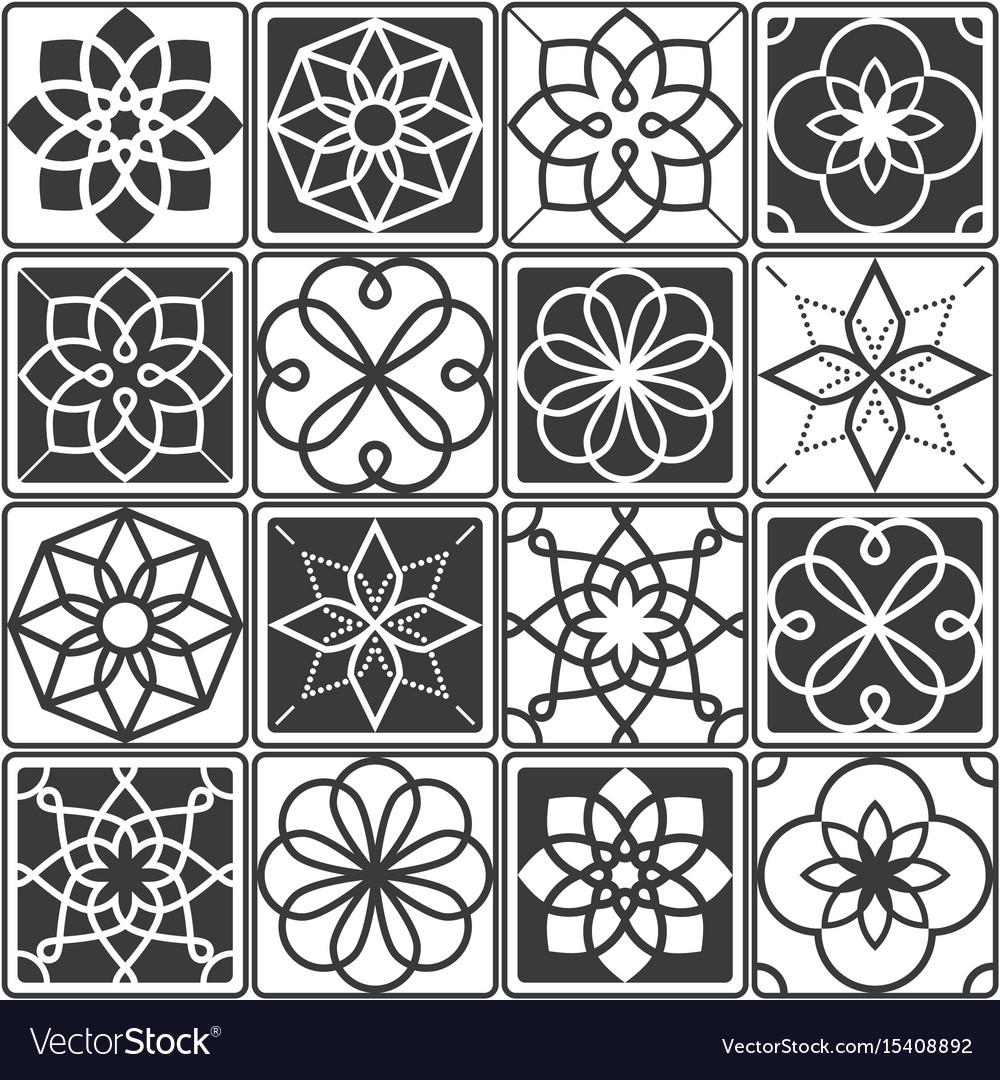 Portuguese azulejo tiles design seamless patterns