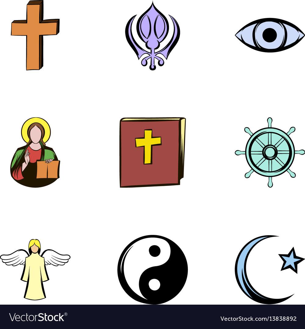 Religion symbol icons set cartoon style