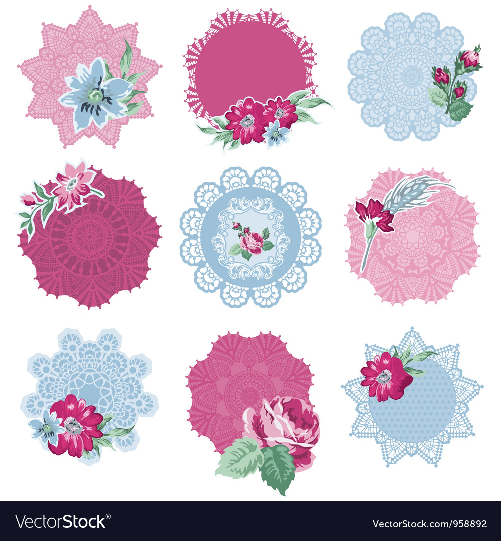 Scrapbook Design Elements Tags With Flowers Vector Image