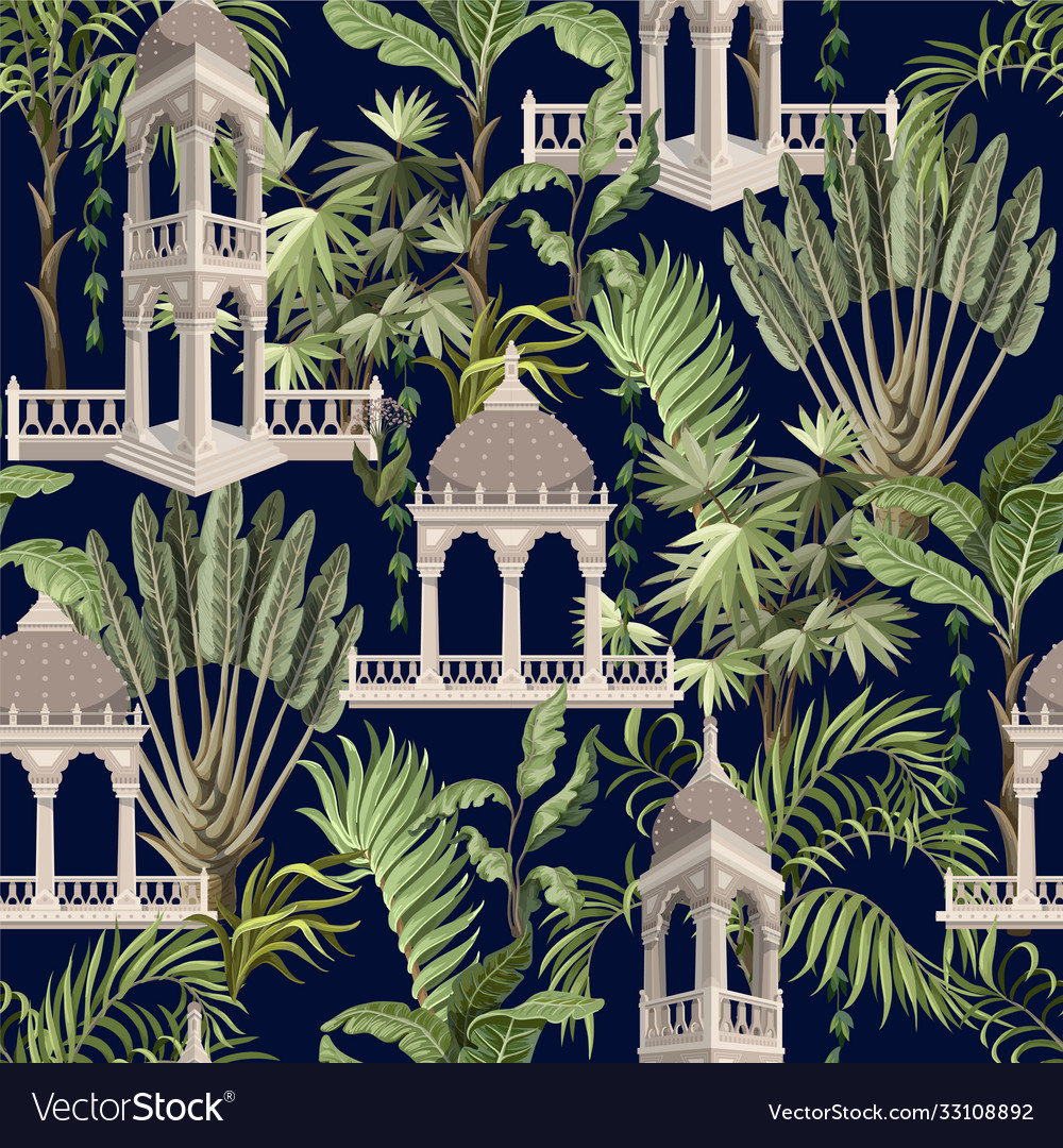Seamless pattern with jungle trees and ancient