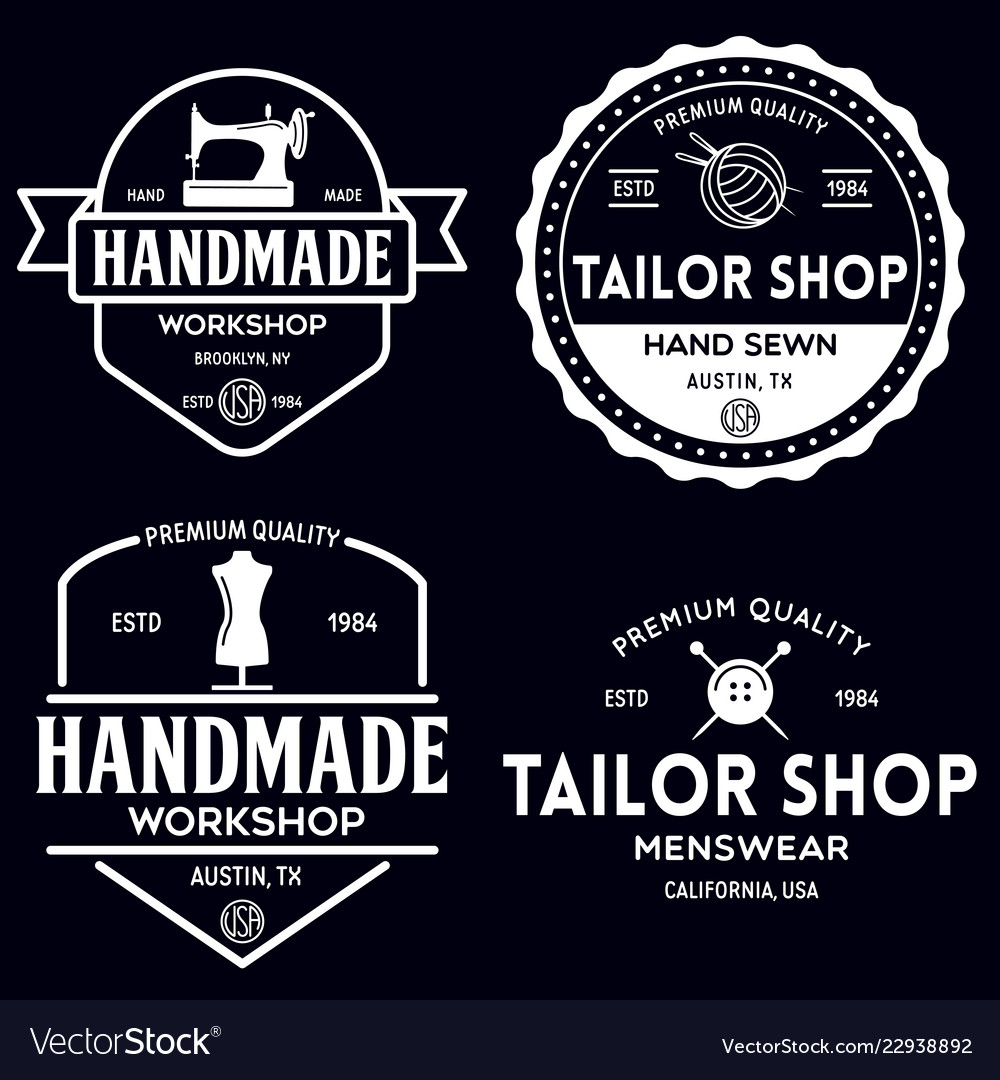 Set of vintage sewing and tailor labels badges