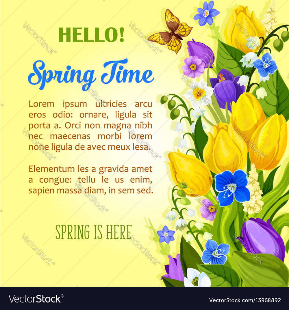 Spring flowers blooming design greetings vector image mightylinksfo