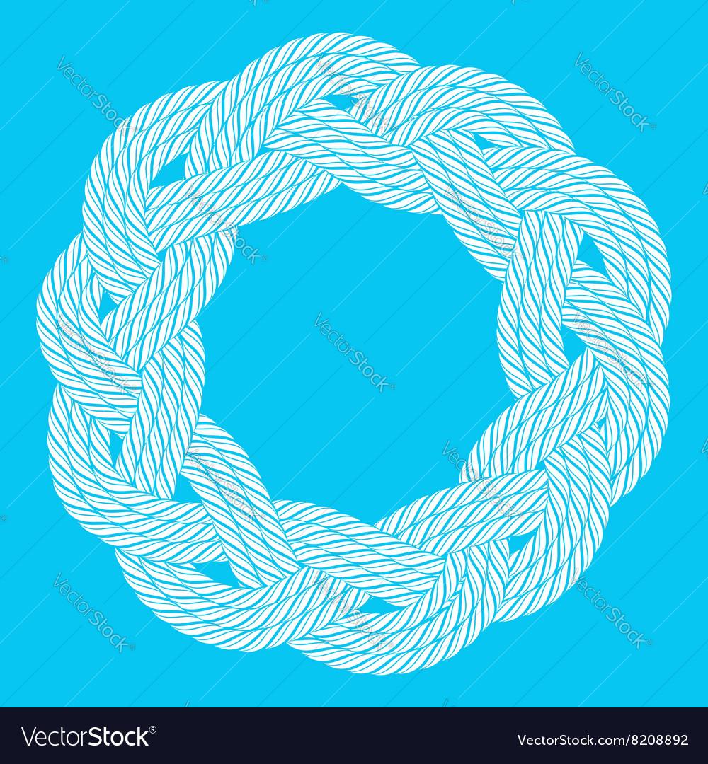 White rope decorative round frame