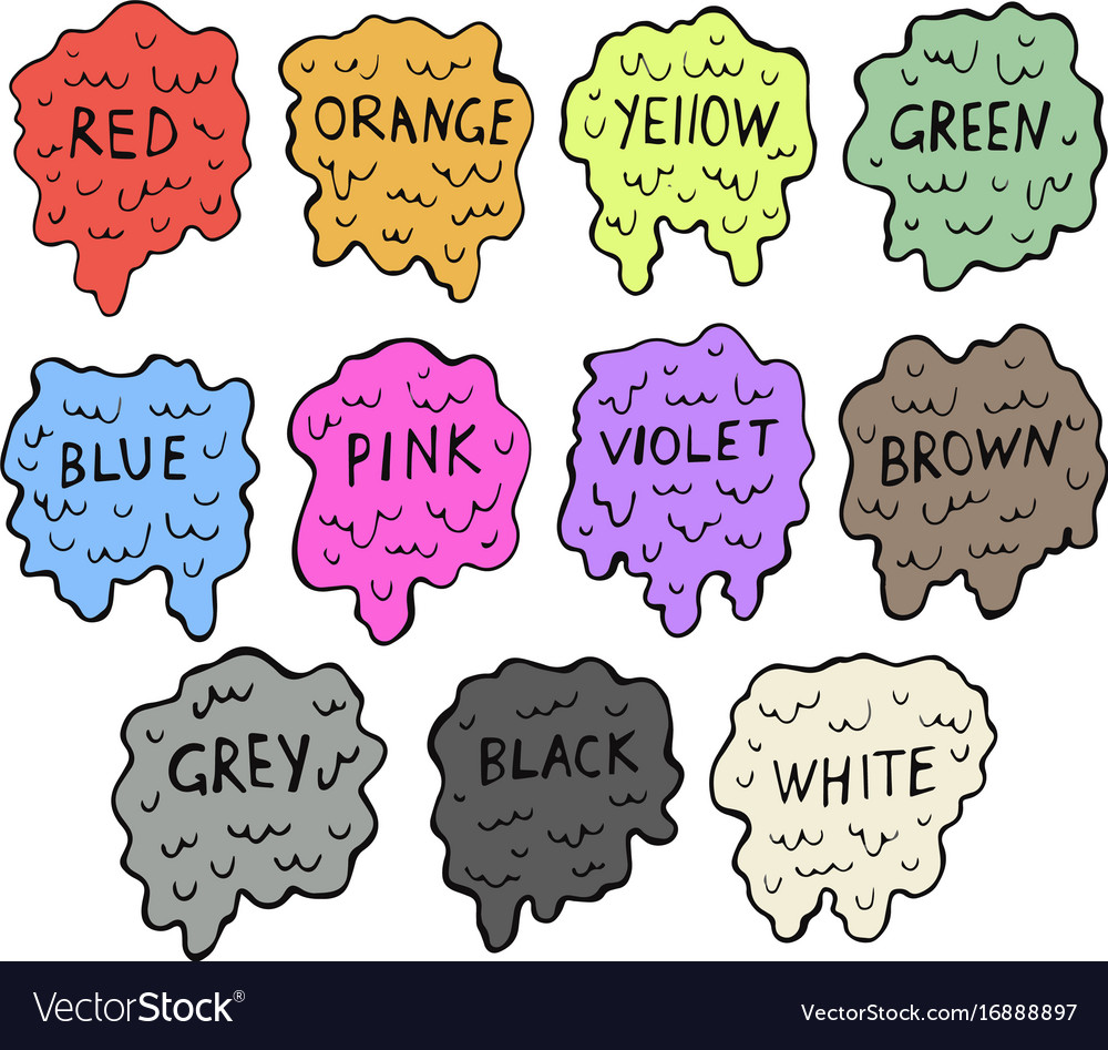 Cartoon colour splashes set vector image
