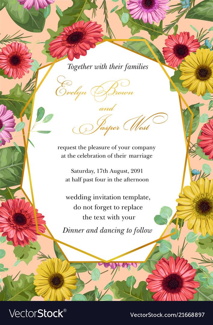 Flower sample of wedding invitation greeting