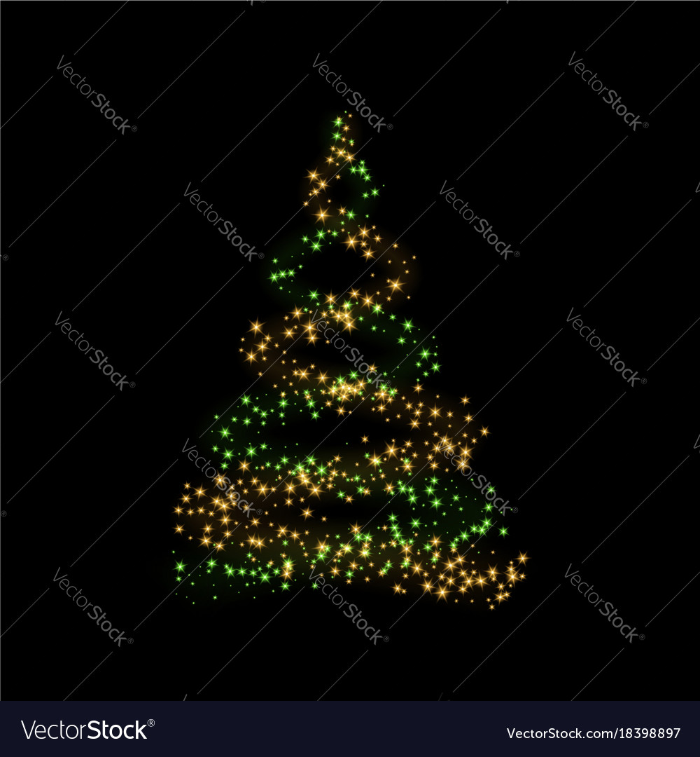 gold christmas tree happy new year background vector image