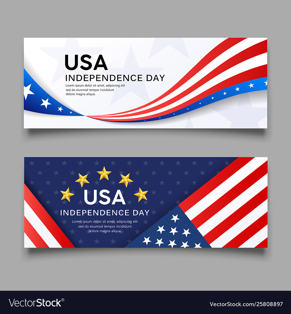 Happy independence day america flag banner