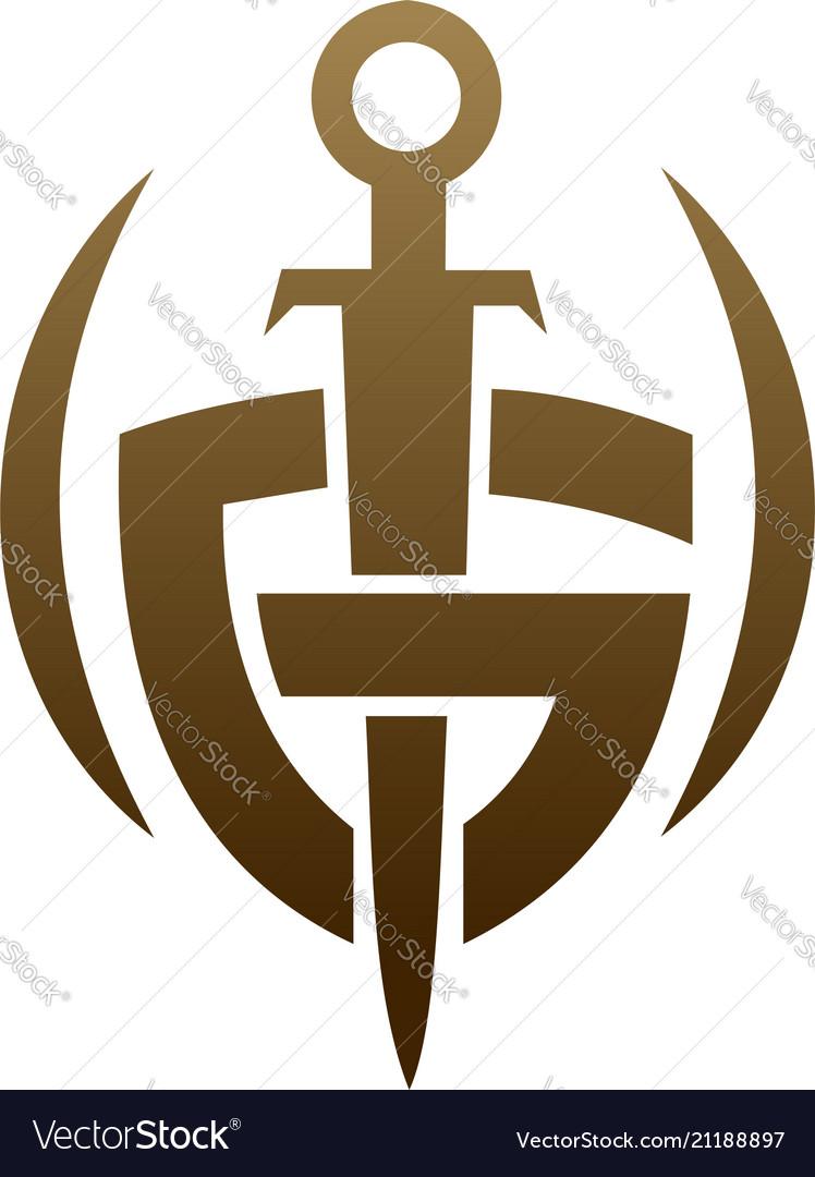 letter g shield sword logo security logo design vector image