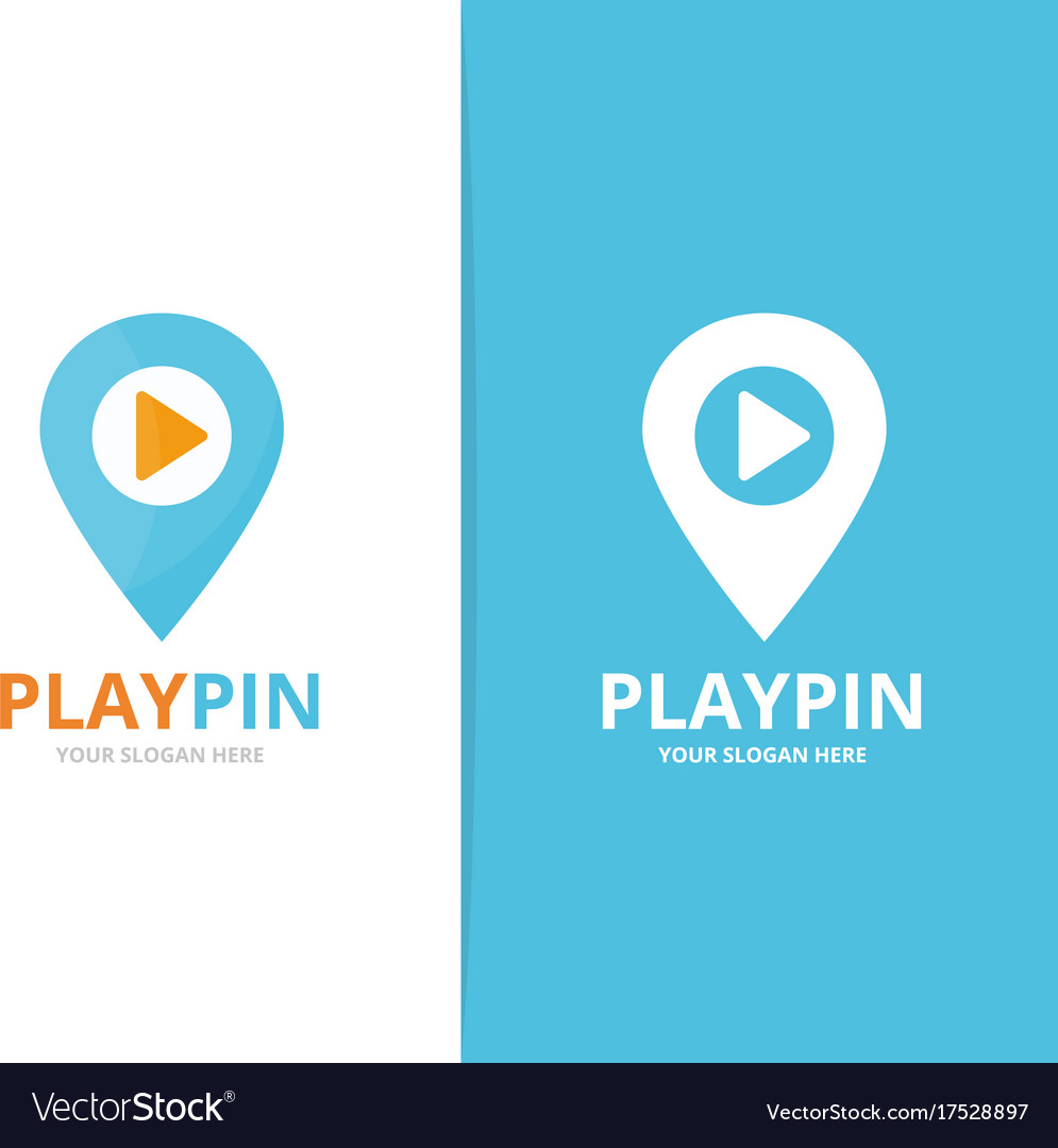 Map pointer and button play logo