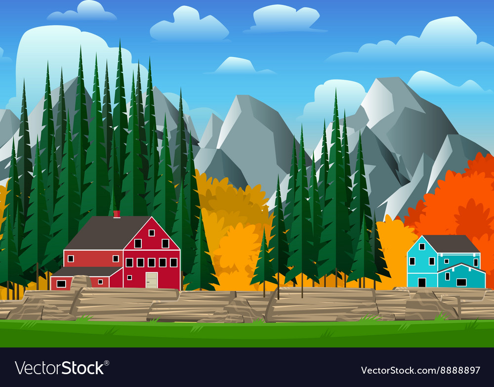 Mountain and forest landscape