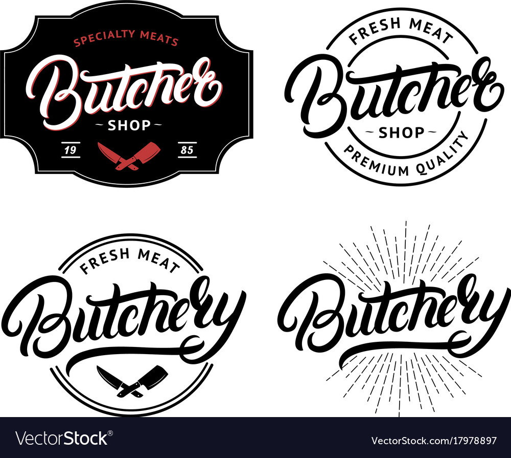 Set of butcher shop and butchery lettering logo