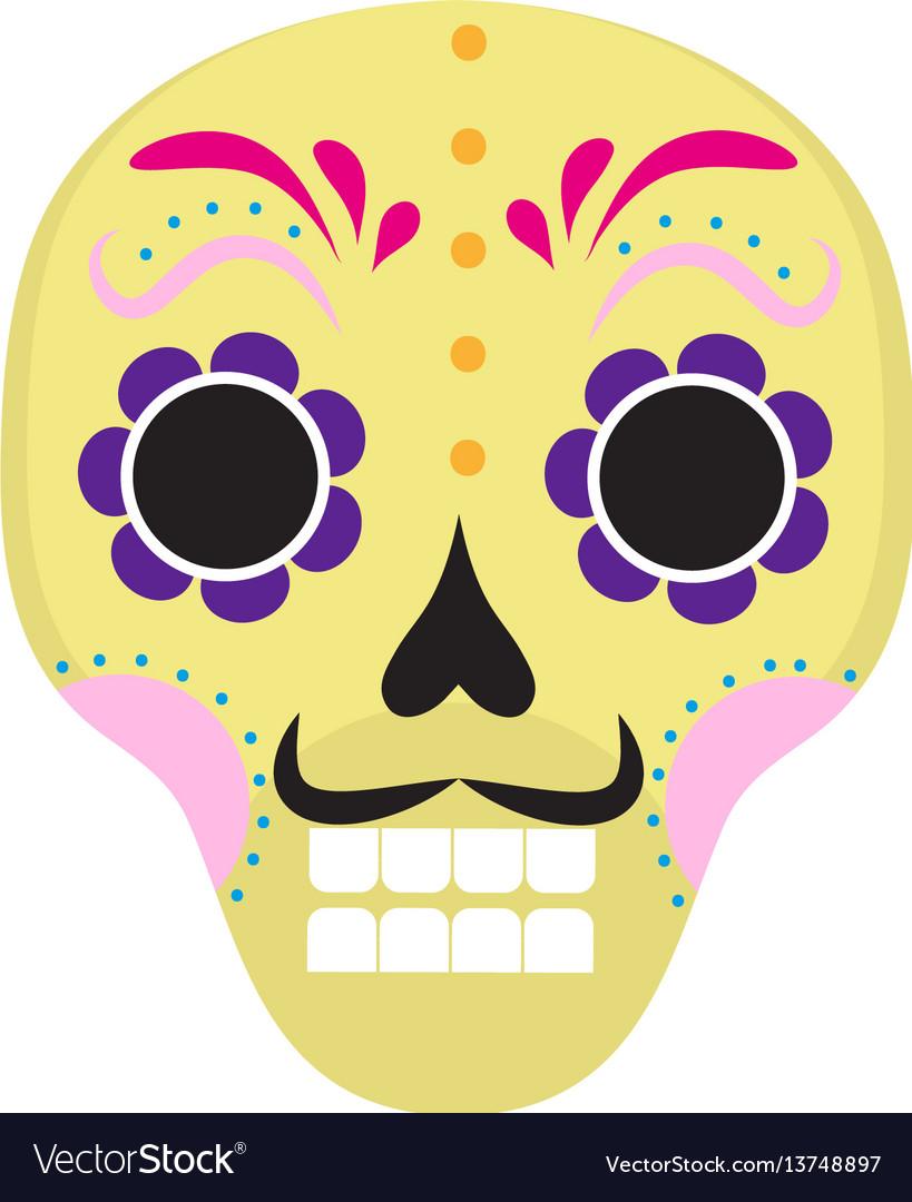 Sugar skull icon flat cartoon style cute dead