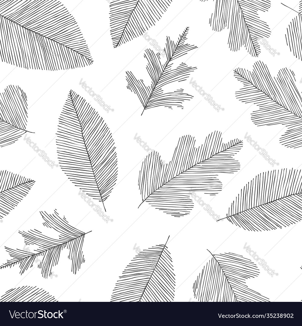 Black and white seamless doodle pattern leaves