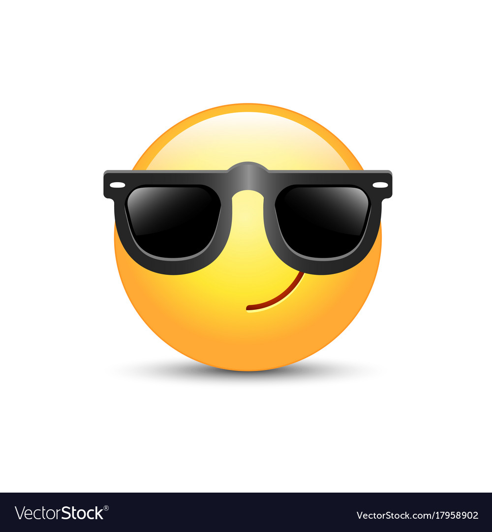 Cartoon emoticon wearing black sunglasses happy