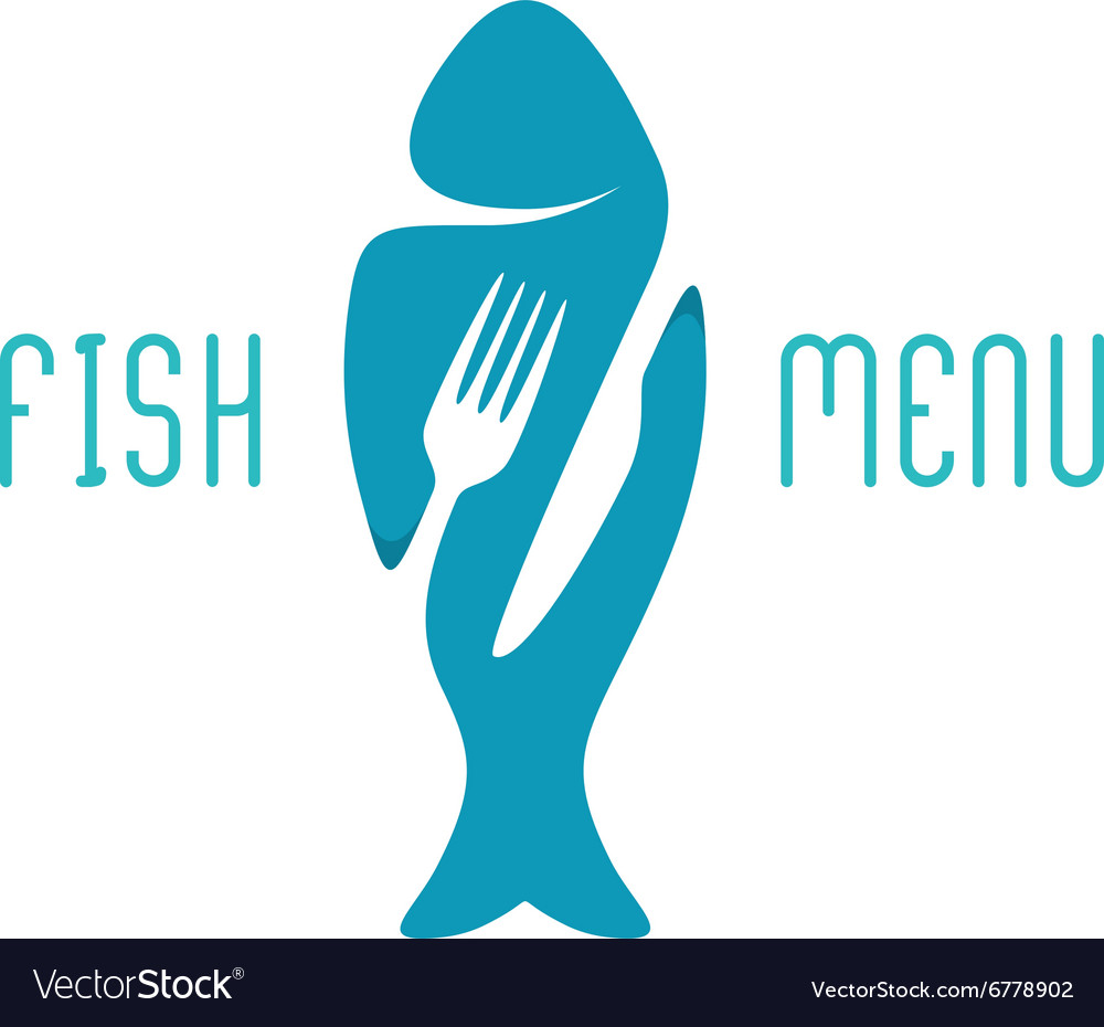 Fish food restaurant menu title logo Silhouette of
