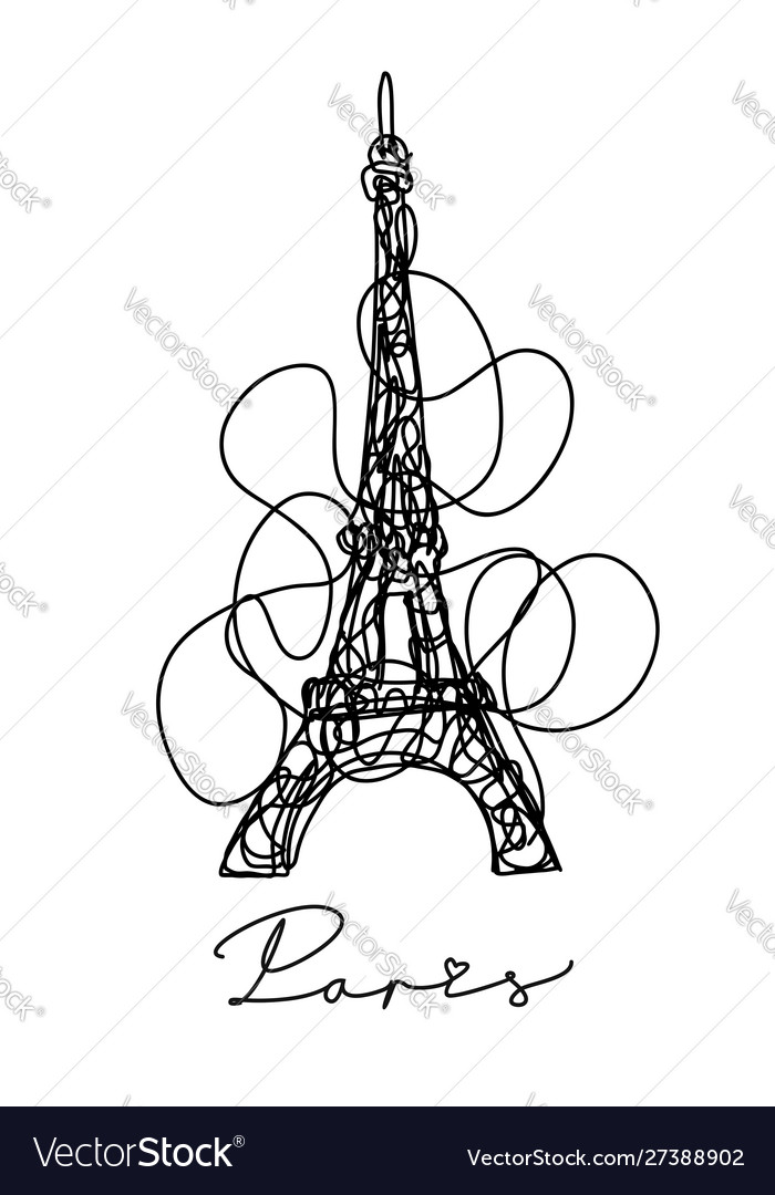 France paris city eiffel tower hand drawn