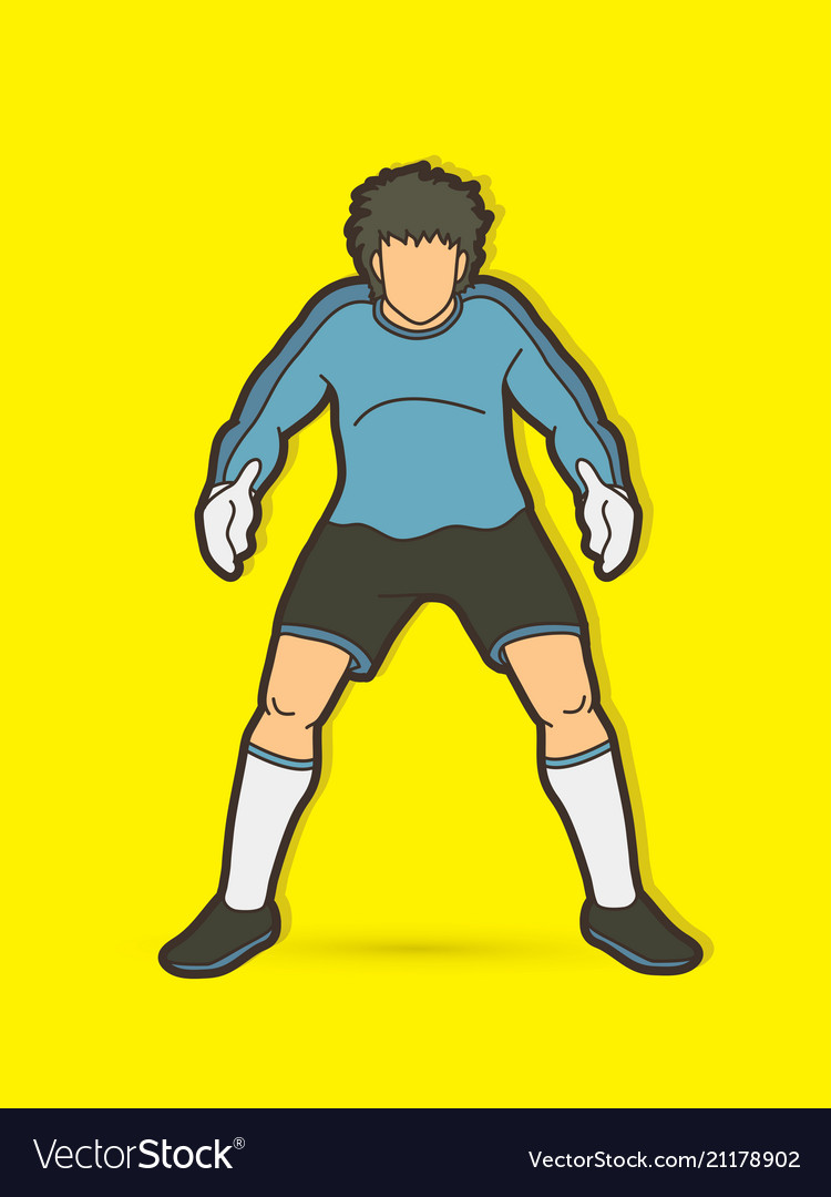 Goalkeeper standing action soccer player graphic