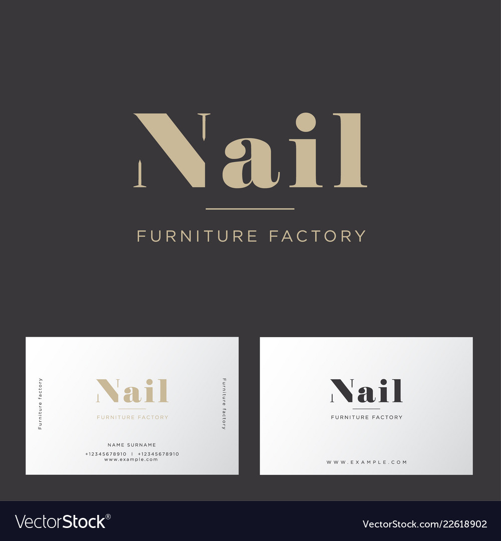 Gold Letters Furniture Factory Business Card