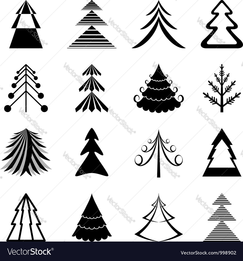 Graphic Christmas trees icons