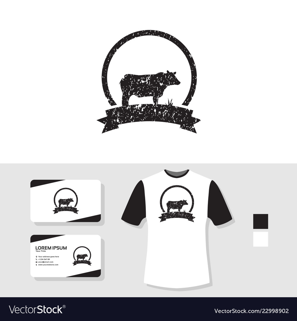 Grunge Cow Logo Design With Business Card And T Vector Image