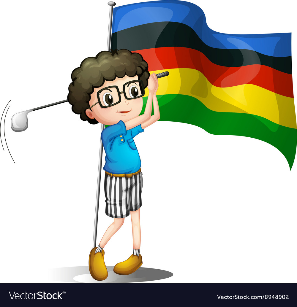 Olympics flag and golf player