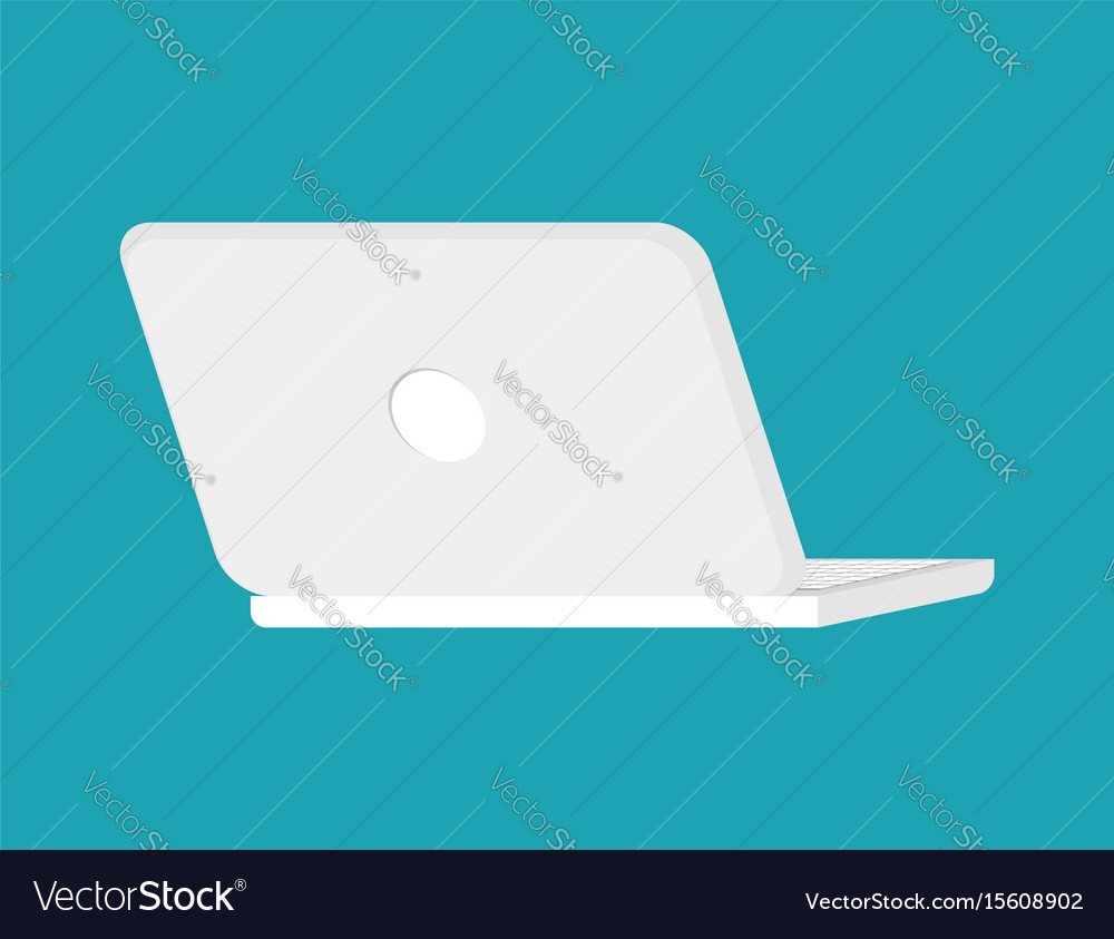 Open white laptop back isolated notebook pc vector image
