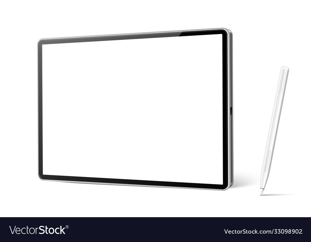 Realistic tablet with stylus pen mockup