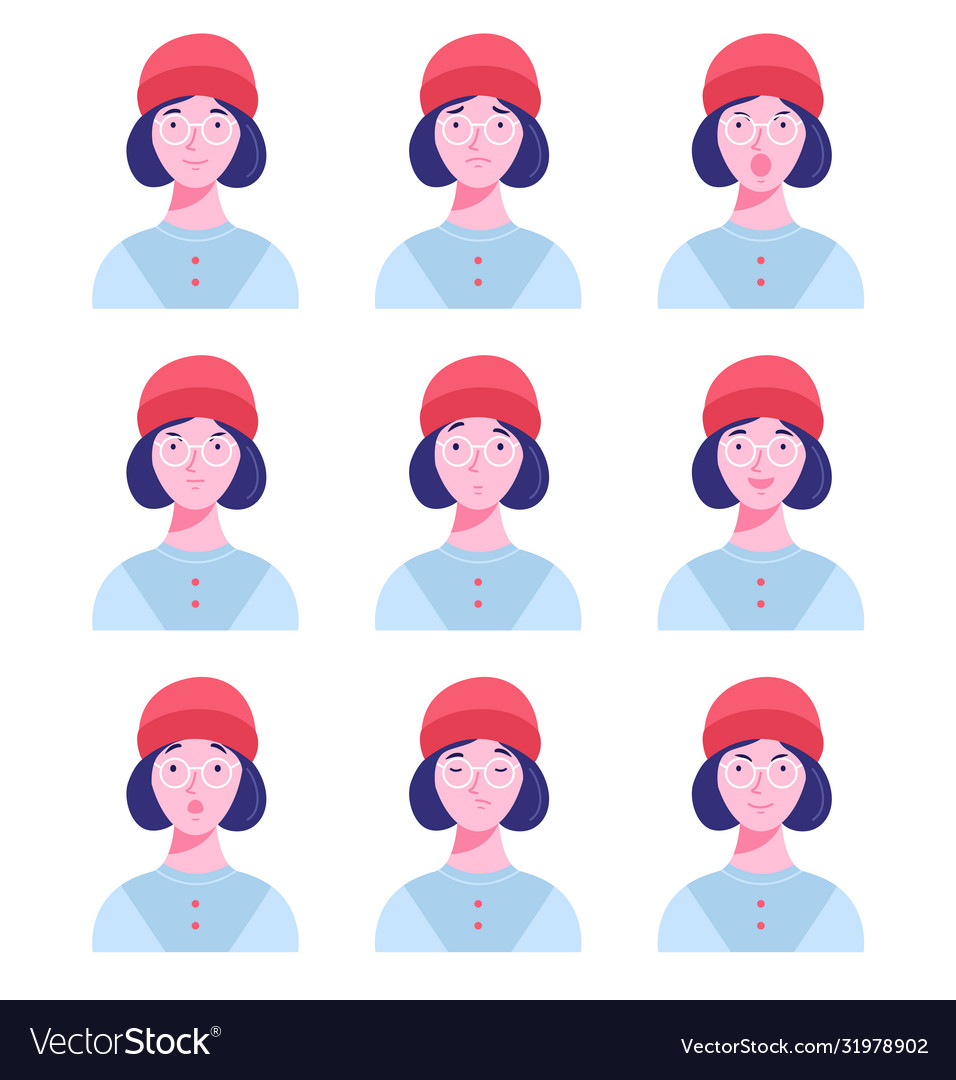 Set female avatars with different emotions