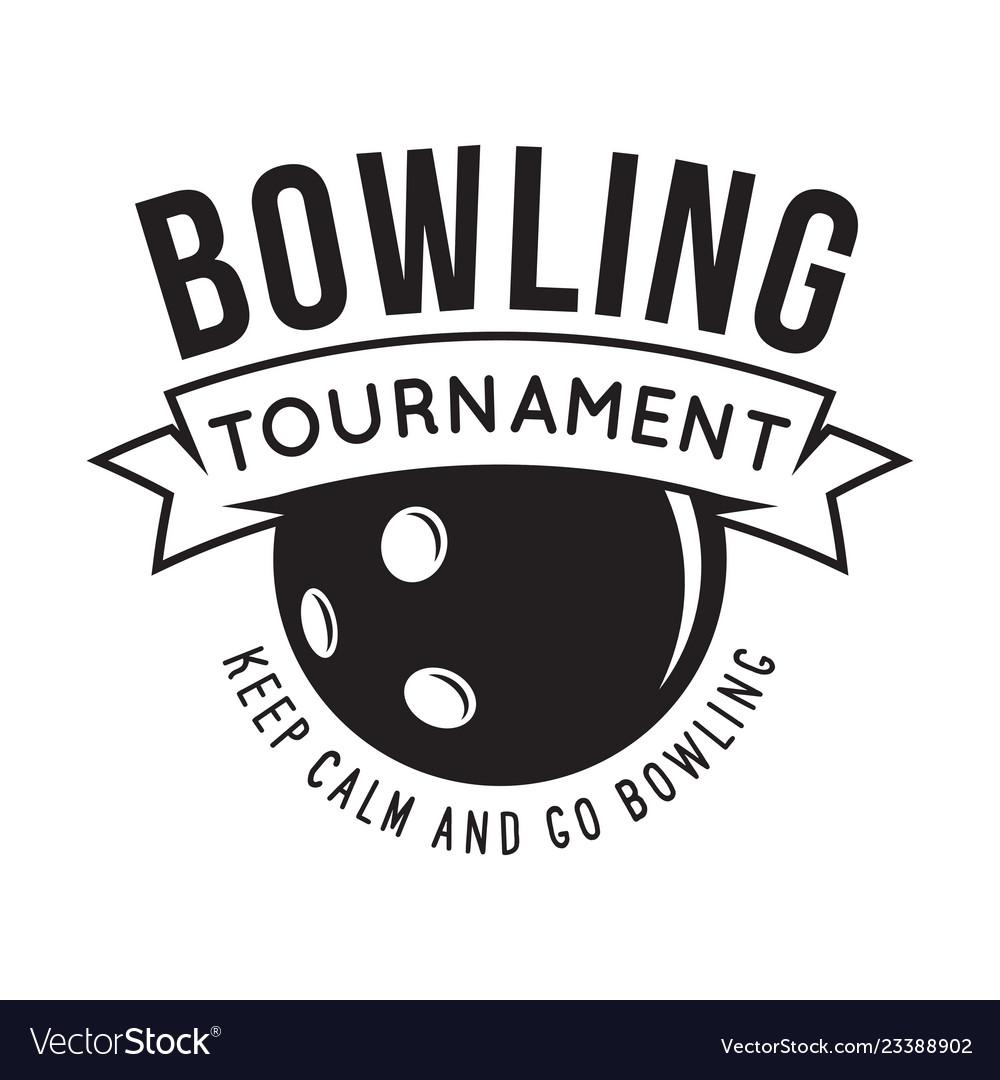 Vintage monochrome style bowling logo icon