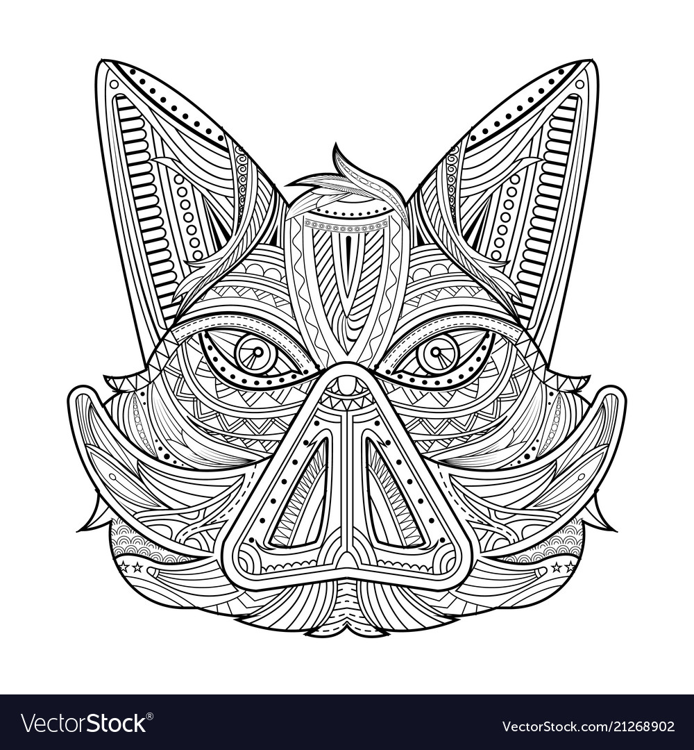 Wild hog or boar head mascot coloring page