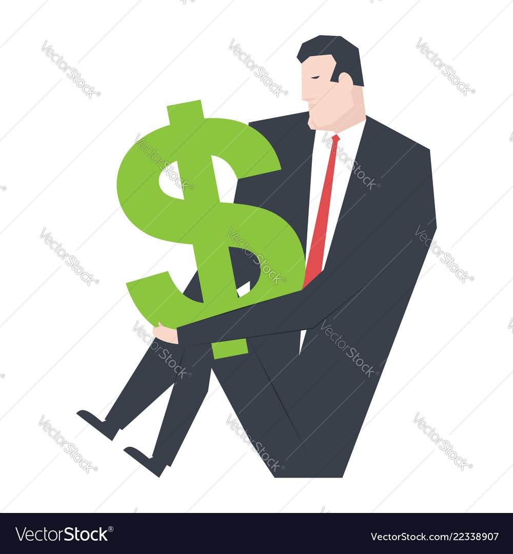 Businessman and dollar boss is hugging money
