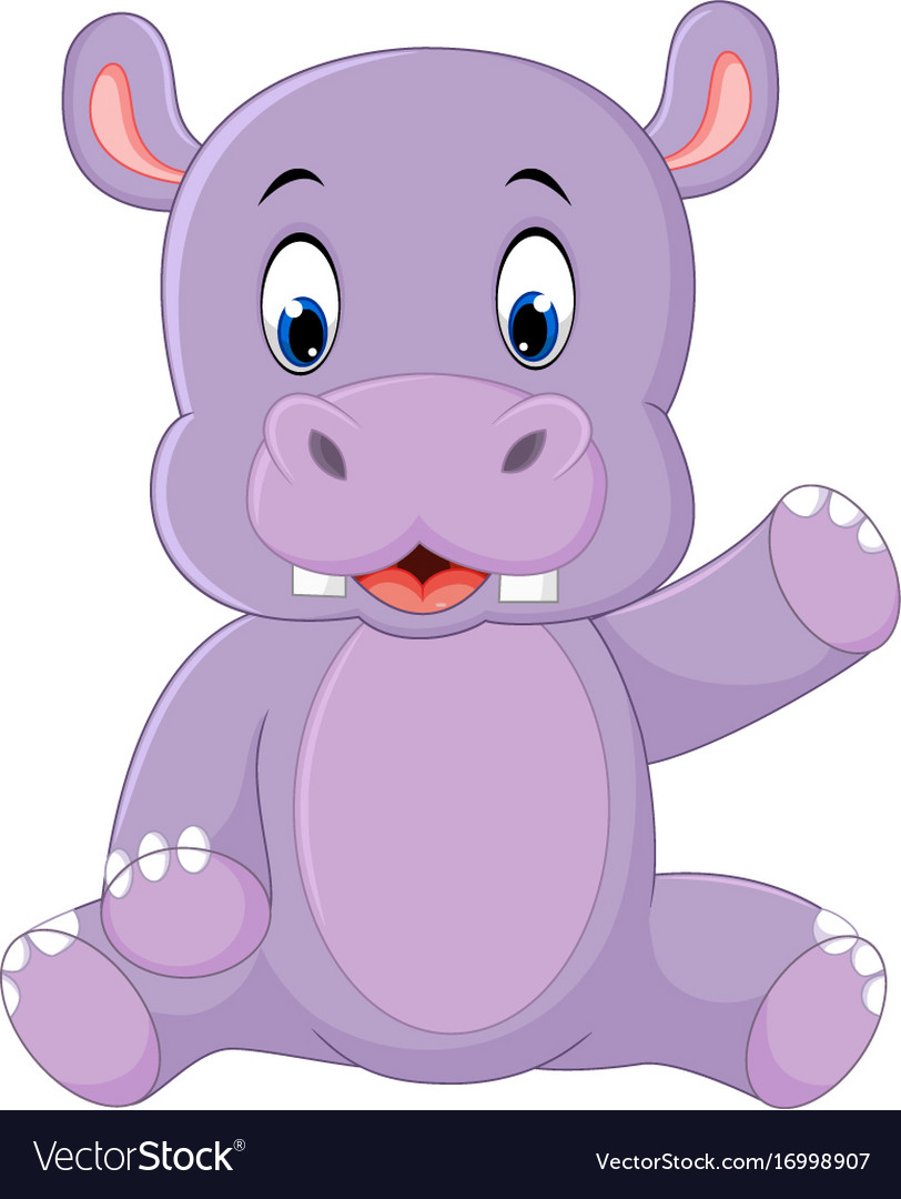 cute hippo cartoon royalty free vector image vectorstock rh vectorstock com funny hippo cartoon pictures cartoon hippo images