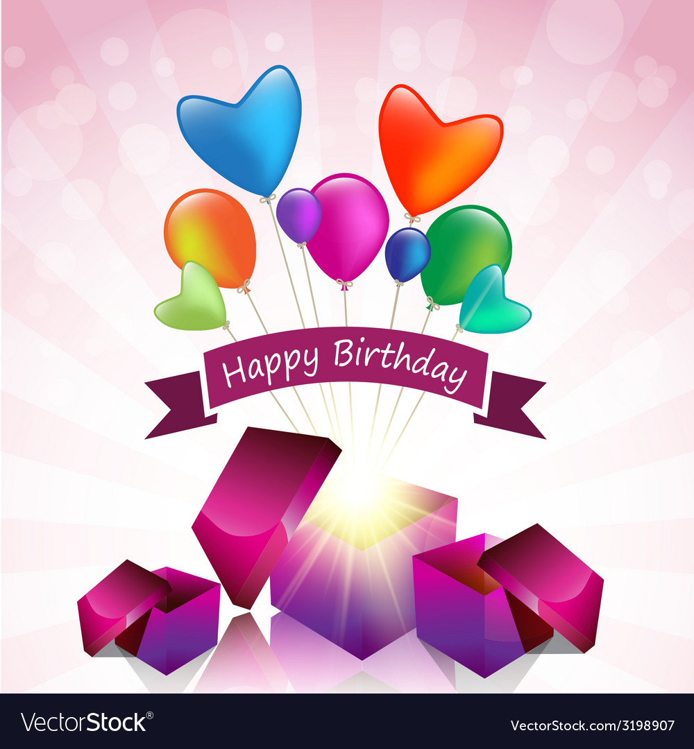 Happy Birthday Card With Magic Gift Box Royalty Free Vector