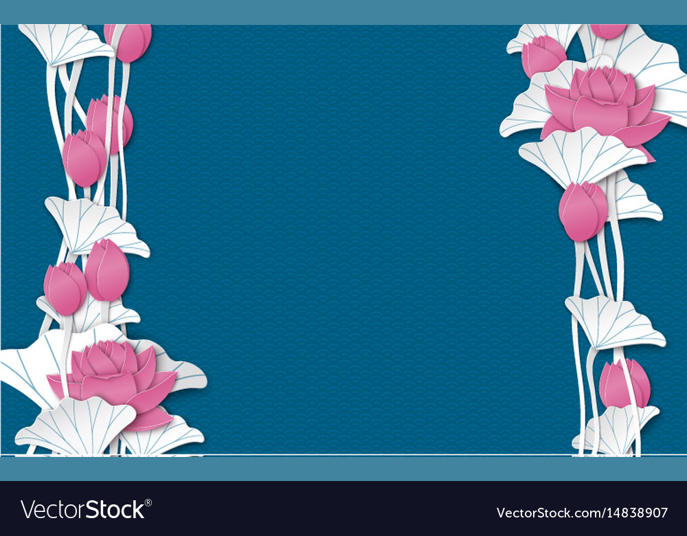 Oriental Floral Background With Paper Lotus Flower