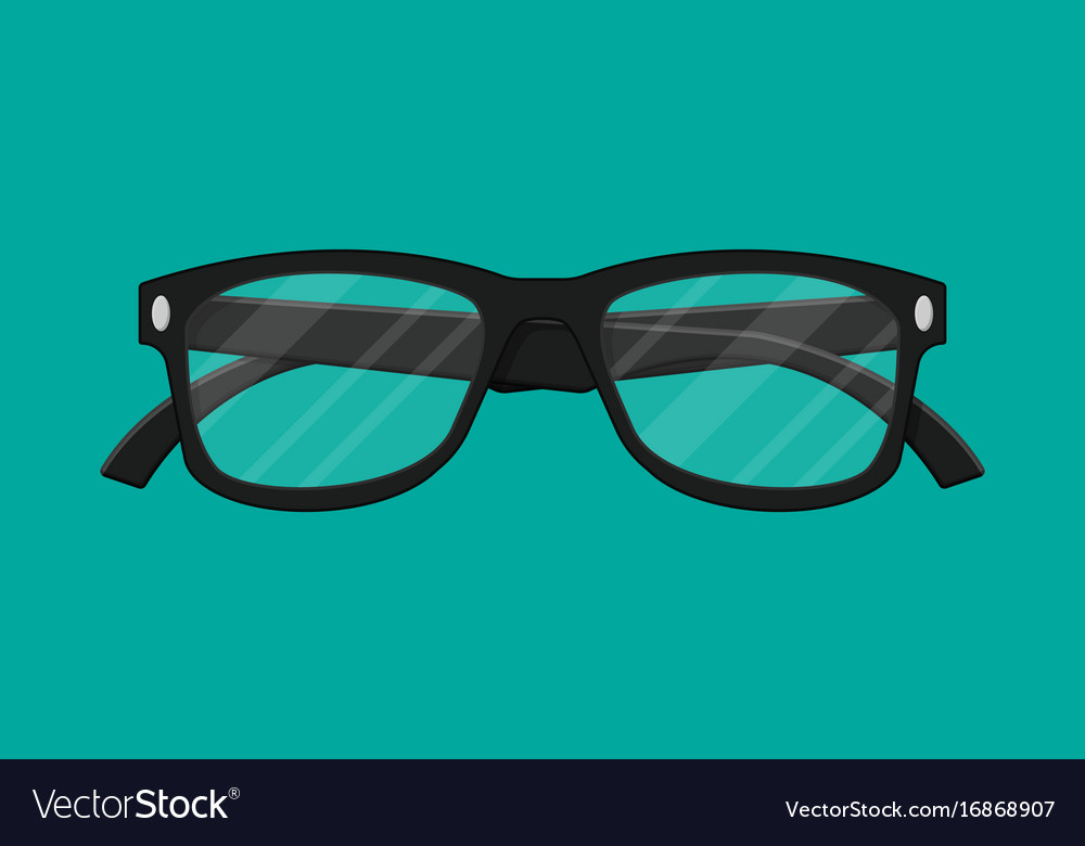 Plastic framed glasses isolated on green vector image