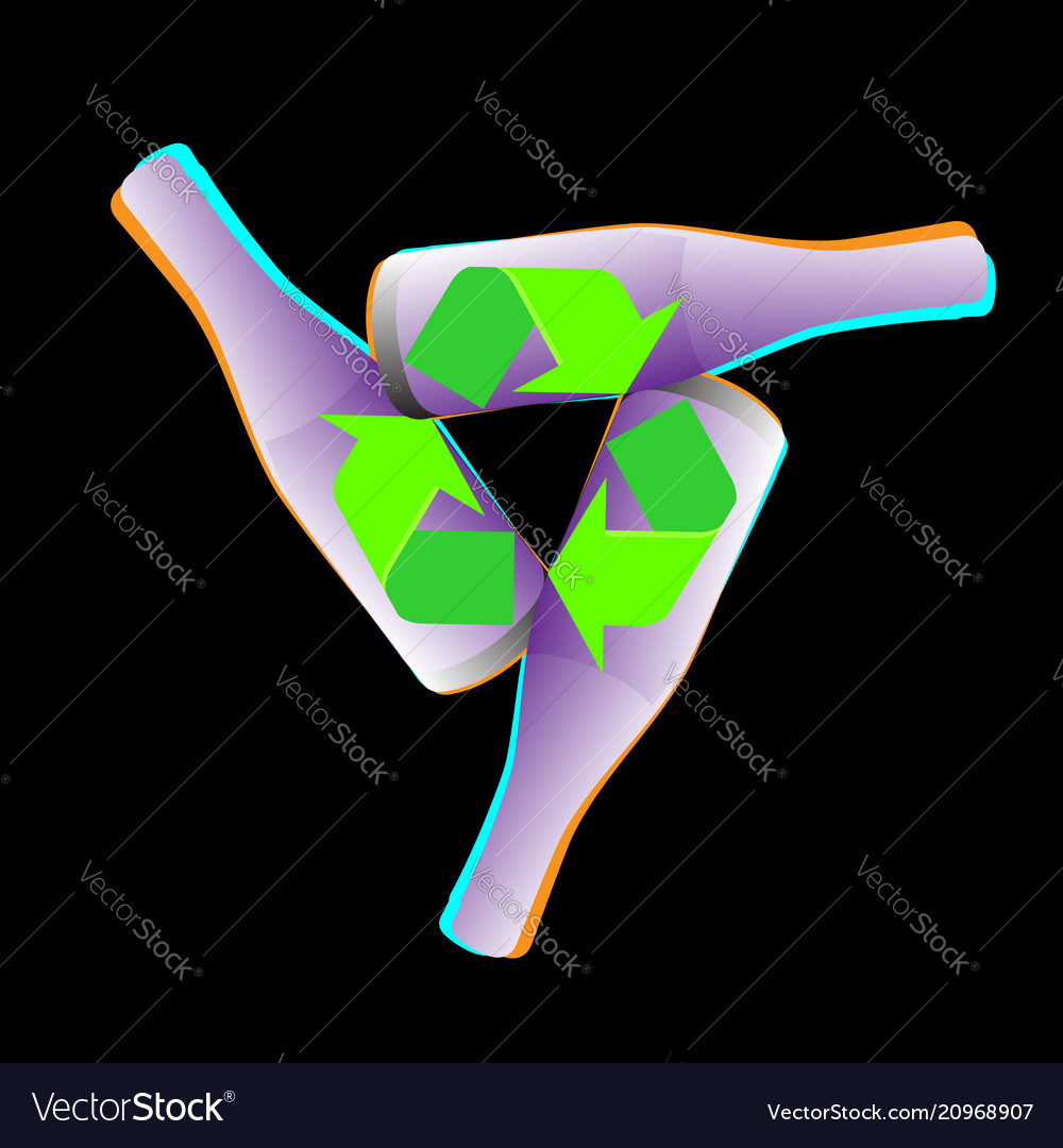 Recycled eco icon recycle bottle arrows ecology vector image