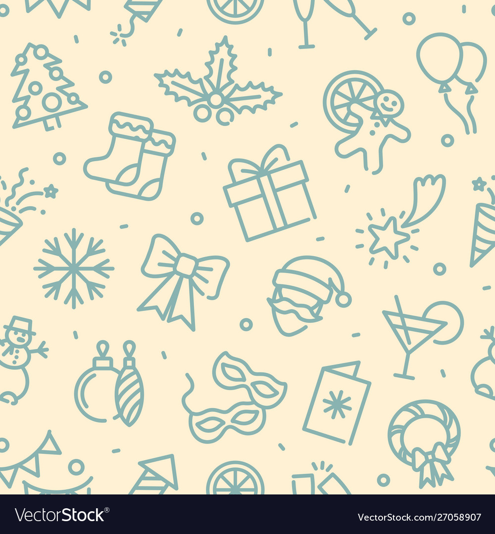 Seamless monochrome background with christmas and