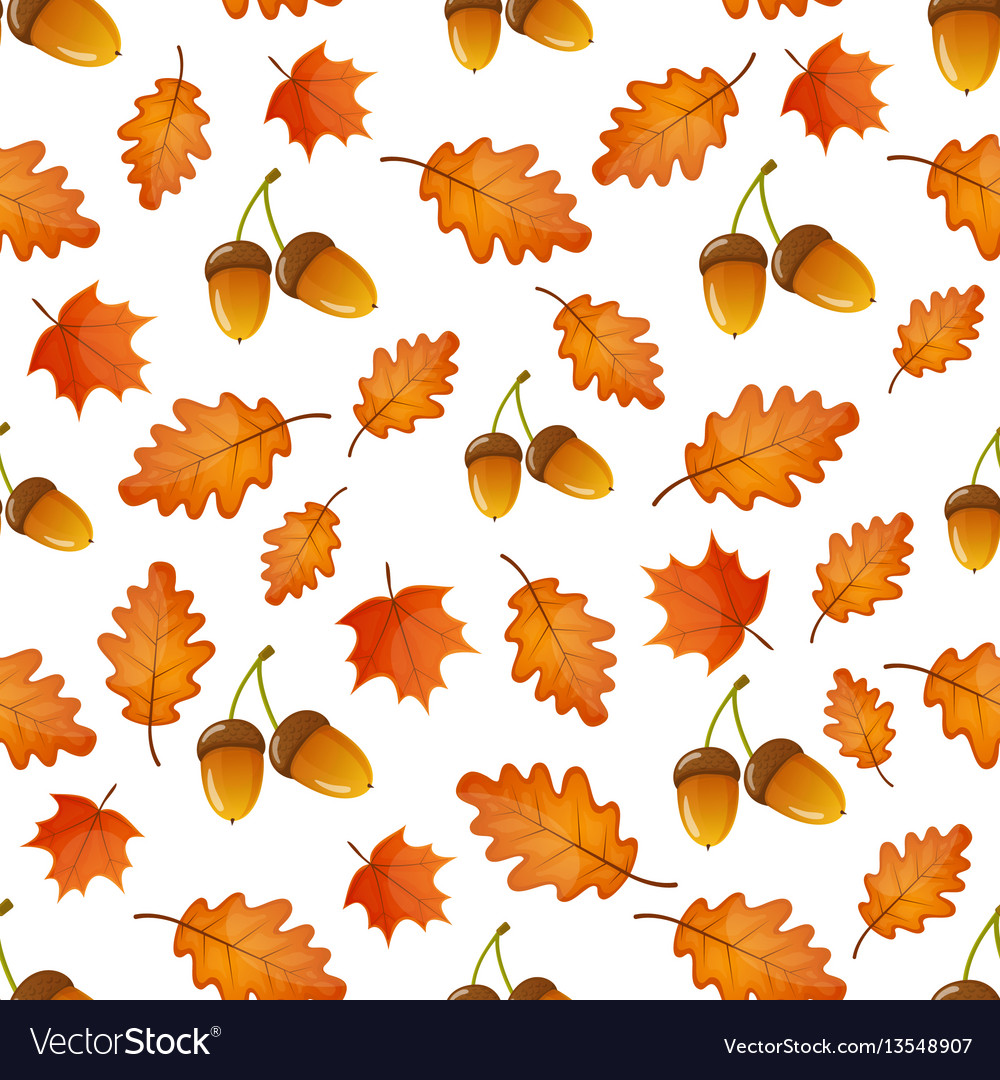 Seamless pattern with acorns and leaves vector image