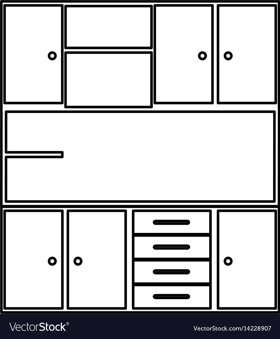 Sketch Silhouette Of Modern Kitchen Cabinets