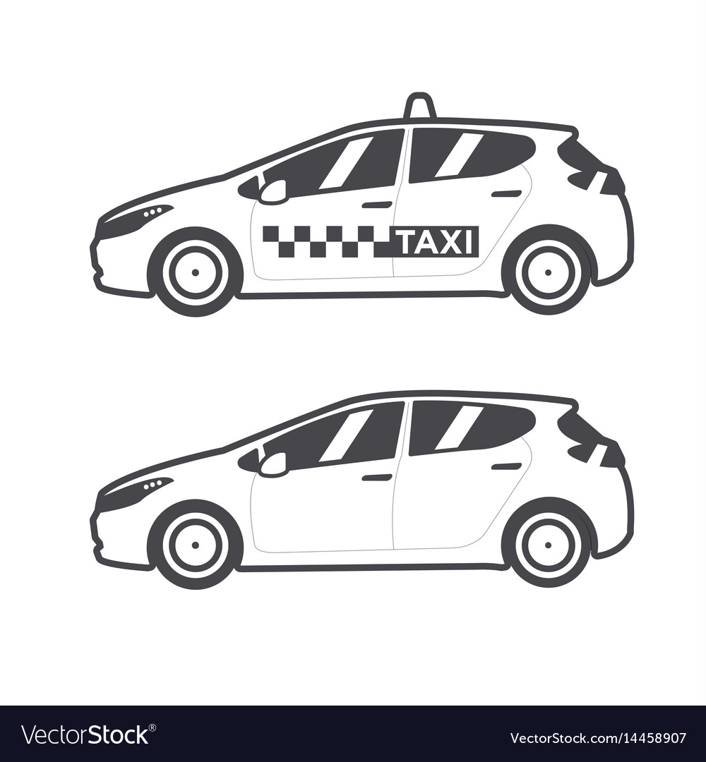 Taxi car icon flat line