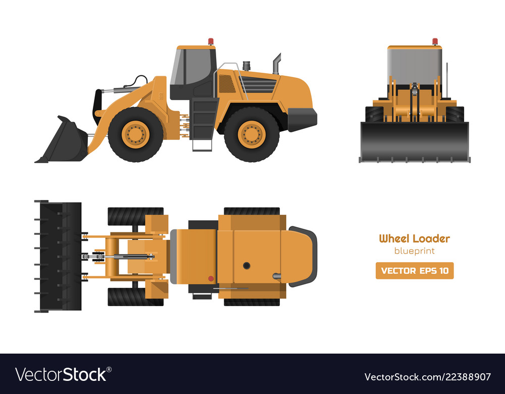 Wheel loader on white background
