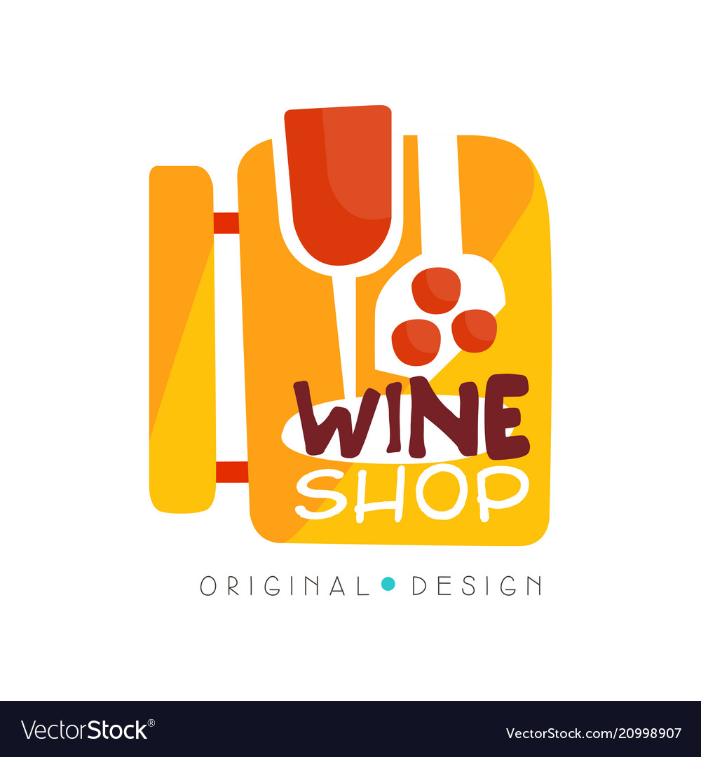 Wine shop logo design template winery store