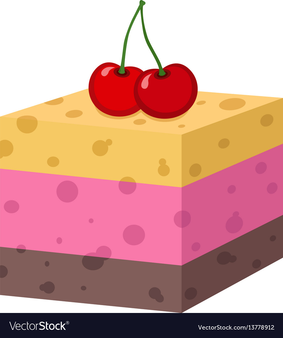 Cake with cherry cupcake jelly cheesecake bakery vector image
